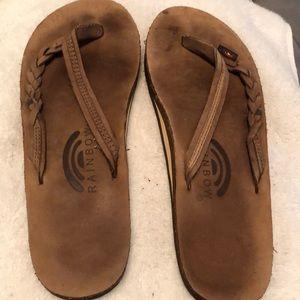 "Brown braided ""Flirty"" Rainbow sandals"